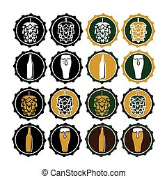 set of vintage beer cap labels