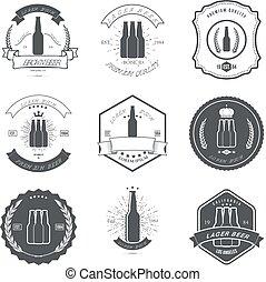 Set of vintage beer labels and design elements vector
