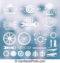 Set of vintage bike shop badges and labels. White print on blurred background