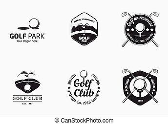 Set of vintage black and white golf championship logo badges