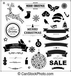 Set Of Vintage Black Christmas Symbols And Ribbons, With...