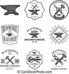 Set of vintage blacksmith labels and design elements vector...