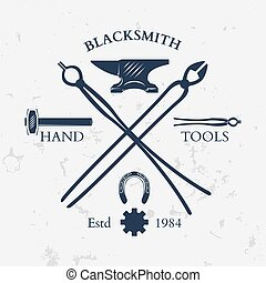 Set of vintage blacksmith labels and design elements vector