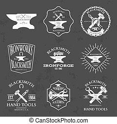 Set of vintage blacksmith labels and design elements vector