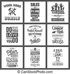 Set of vintage business motivation typographic quotes.