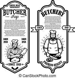 Set of vintage butchery and meat store flyers. Design element for logo, label, sign, badge, poster.