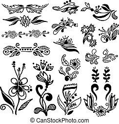 Set of vintage calligraphic design