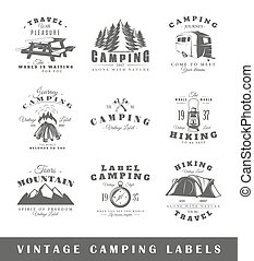 Set of vintage camping labels
