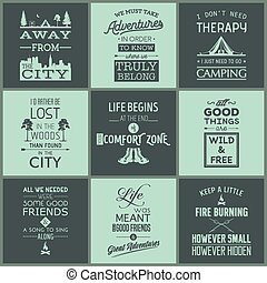 Set of vintage camping typographic quotes. Vector EPS8...