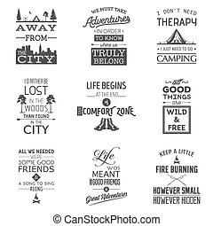 Set of vintage camping typographic quotes. Vector EPS8 ...