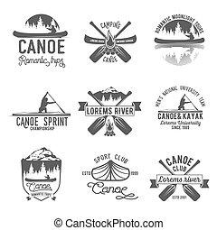 Set of vintage canoeing logo - Set of vintage mountain,...
