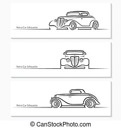 Set of vintage car silhouettes. Hot rod car in three angles....