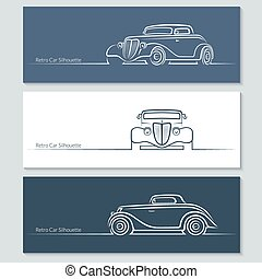 Set of vintage car silhouettes. Retro car in three angles....