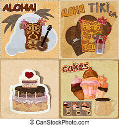 Set of vintage cards - invitations - with food and Hawaiian masks