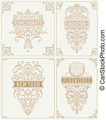 Set of Vintage cards. vector template.