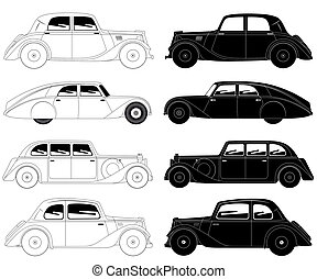 Set of vintage cars