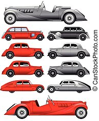 Set of vintage cars - vector