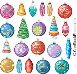 Set of vintage Christmas decorations, vector balls and toys.