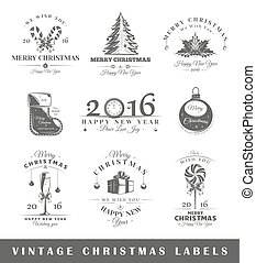 Set of vintage Christmas labels
