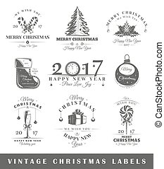 Set of vintage Christmas labels