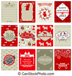 Set of Vintage Christmas Tags - for design or scrapbook - in vector