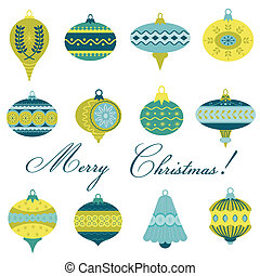Set of Vintage Christmas Tree Balls - for design and scrapbook - in vector