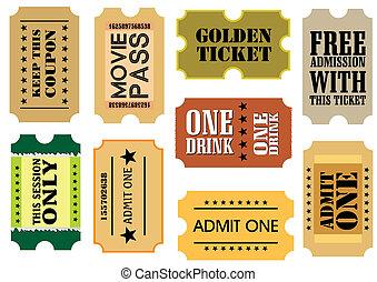 Vintage cinema tickets - Set of Vintage cinema tickets, ...
