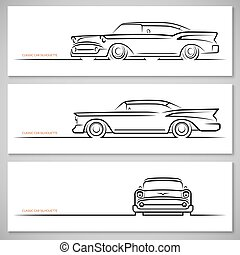 Set of vintage classic car silhouettes, outlines, contours....