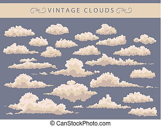 set of vintage clouds on a blue background
