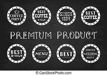 Set of vintage coffee  labels, hand drawn,
