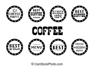 Set of vintage coffee  labels, hand drawn