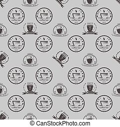 Set of vintage coffee themed monochrome labels. Seamless pattern. Vector