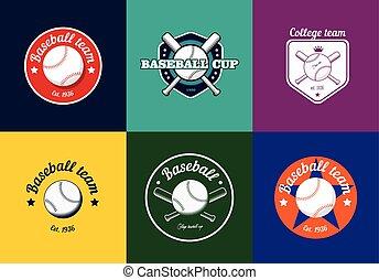 Set of vintage color baseball championship logos and badges