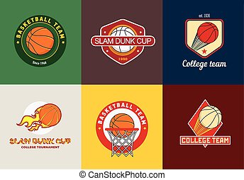 Set of vintage color basketball championship logos and badges