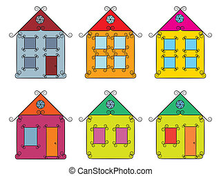 set of vintage color houses