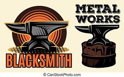 Set of vintage colored blacksmith label with anvil. Vector illustration.