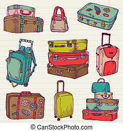 Set of Vintage Colorful Suitcases - for design and scrapbook...