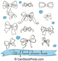 set of vintage colorless bows. Vector illustration EPS8