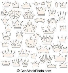 set of vintage crowns, doodle style