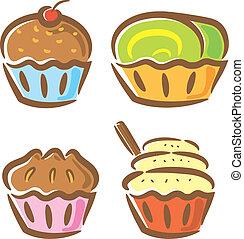 set of vintage cupcake