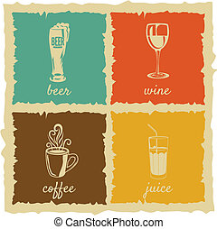 Set of Vintage cups Labels