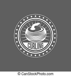 Set of vintage curling labels and design elements