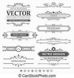 Set of Vintage Decorations Elements - Calligraphic vector ...