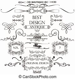 Set of vintage decorations elements flourishes calligraphic ornaments borders and frames retro.eps