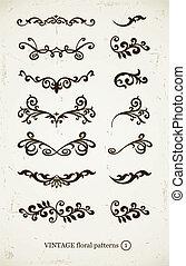 set of vintage decorative patterns on grunge backgound....