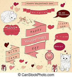 Set of vintage deign elements about love. Vector...