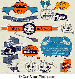 Set of vintage deign elements about Halloween.