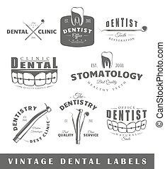 Set of vintage dentist labels