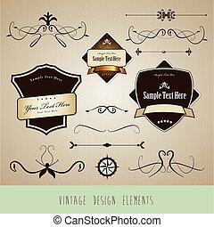 Set of vintage design elements.
