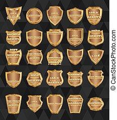 Set of  vintage design elements-golden shields.